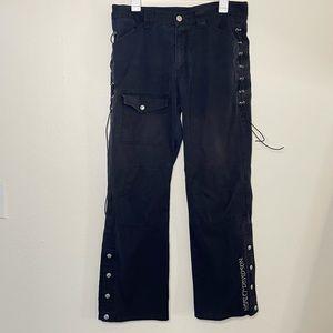 Harley Davidson Lace Up Straight Leg Pants